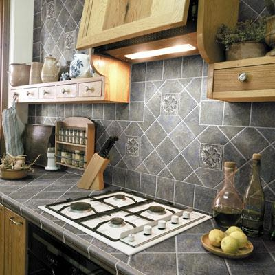 Tiled Countertops in Kitchen