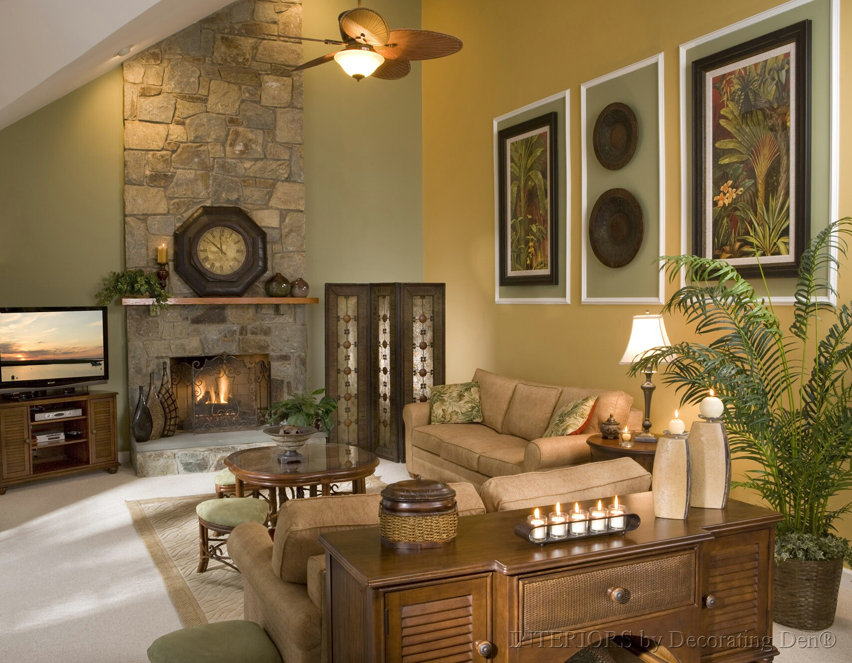 Tips and tricks for decorating with tall and low ceilings - Family room wall ideas ...