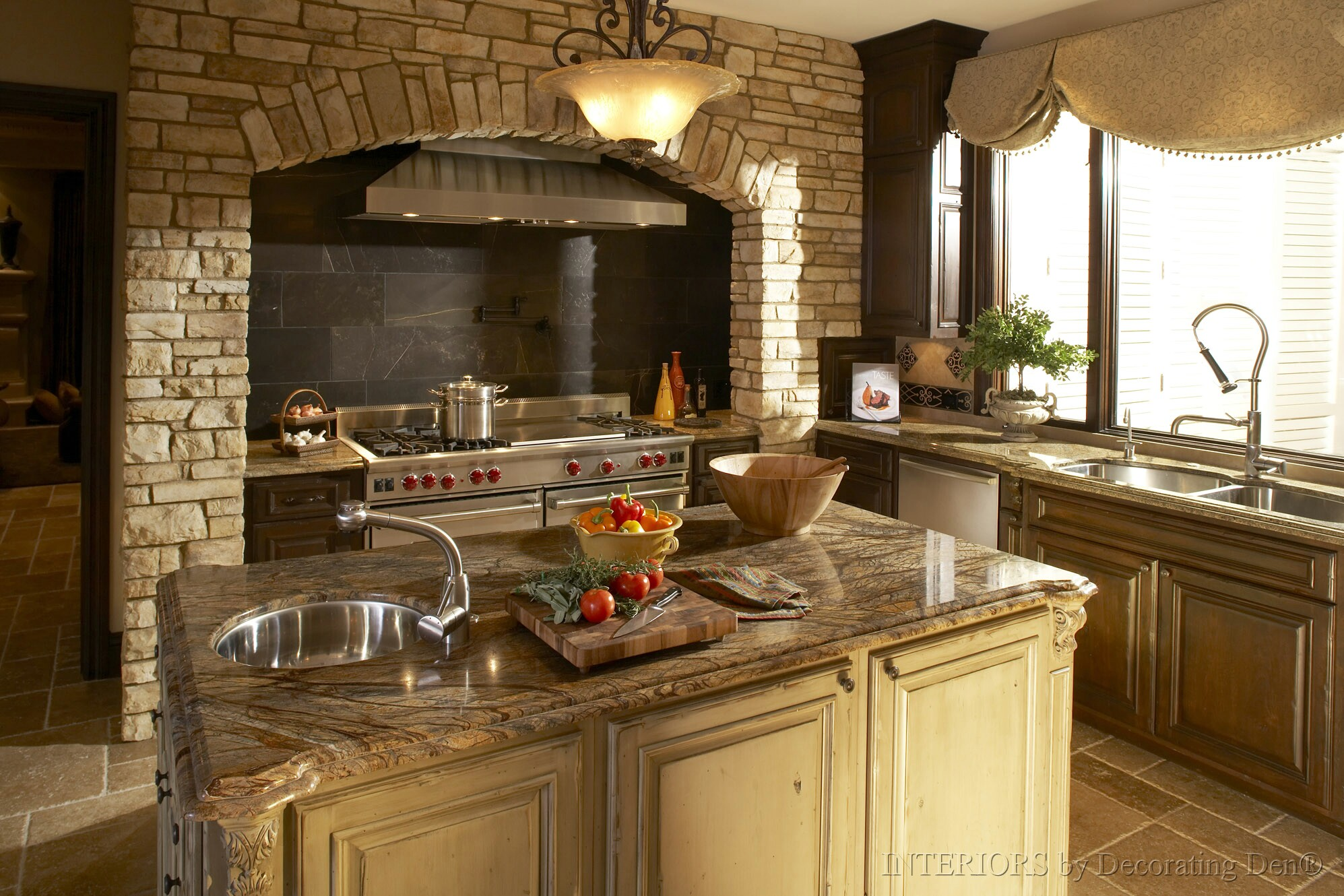 Hood kitchen range stone kitchen design photos - Granite kitchen design ...