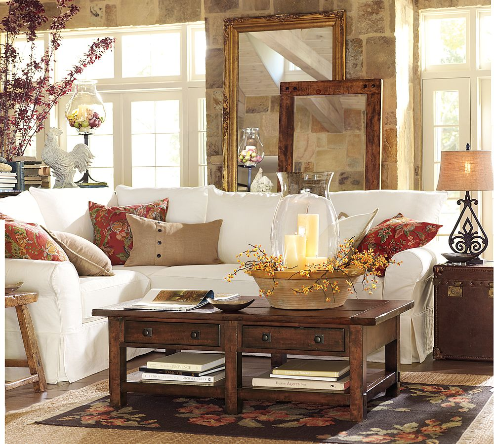 Tips for adding warmth to your fall decor as it gets for Pottery barn style living room ideas