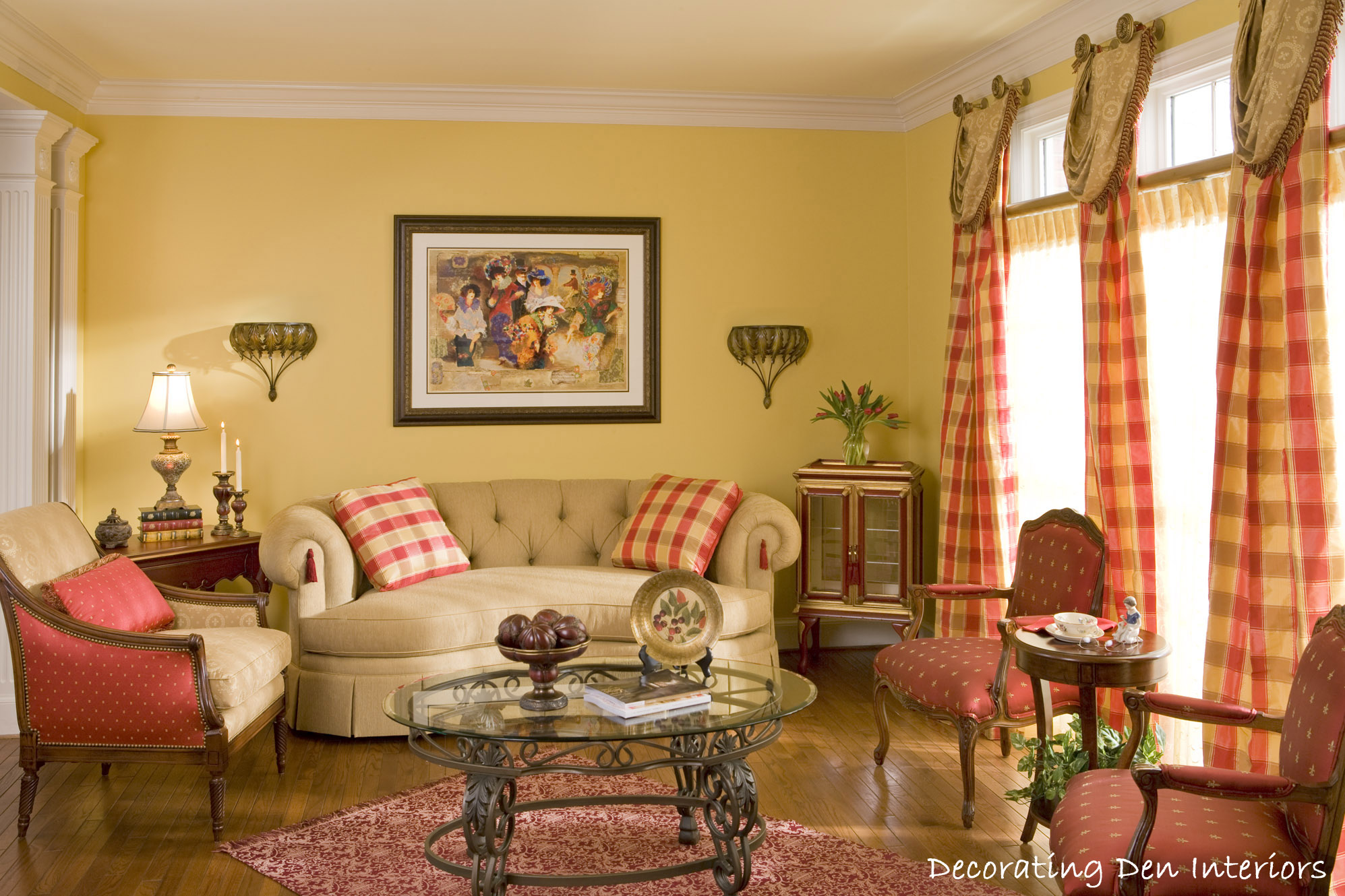 Traditional living room plaid fabric - Living room traditional decorating ideas ...