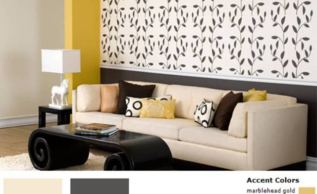 Wall stencils on accent wall