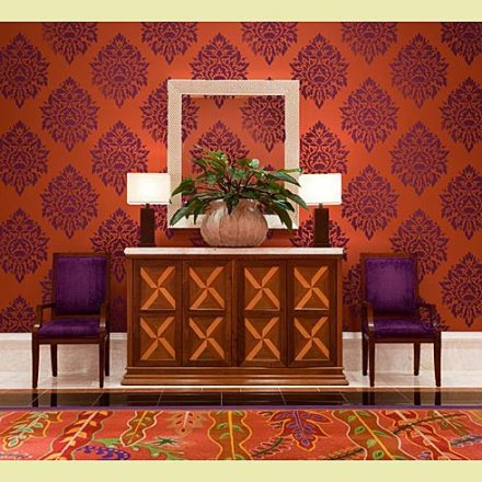 The same damask stencil in a different room