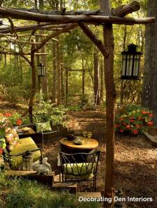 Outdoor room in woods