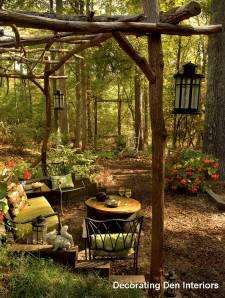 Outdoor room in woods