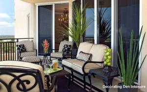 Container gardens & wrought iron patio furniture