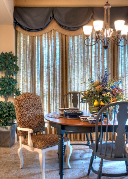 Sheers in a traditional dining room