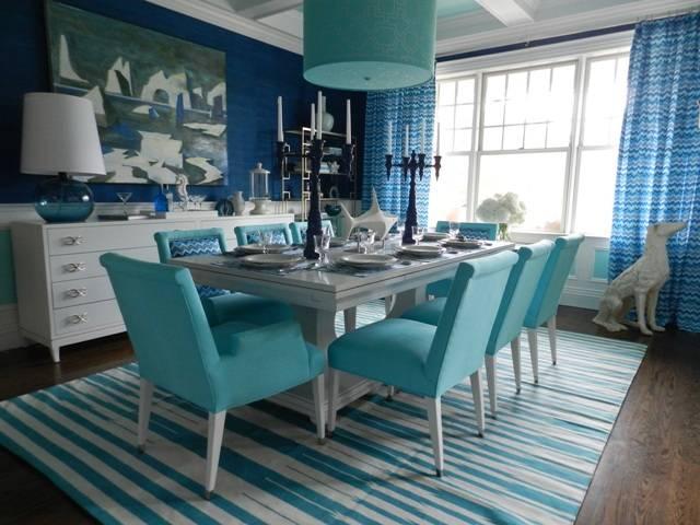 Blue unlined drapery panels